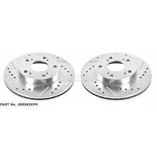 Power Stop JBR962XPR Disc Brake Rotor Set-Extreme Performance Drilled and Slotted Brake Rotor Front