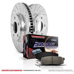 Power Stop K6073 Front Brake Kit with Drilled/Slotted Brake Rotors and Z23 Evolution Ceramic Brake Pads